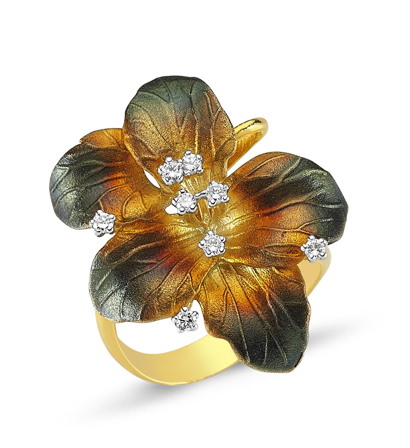 Çiçek Motifli Pırlanta Yüzük - 6002649