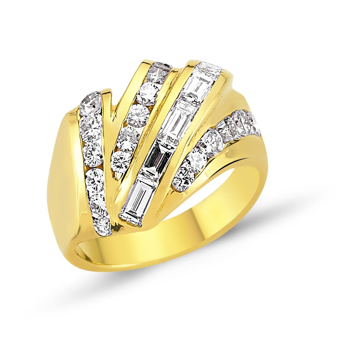 Baget Kesim Pırlanta Altın Yüzük - 6000137