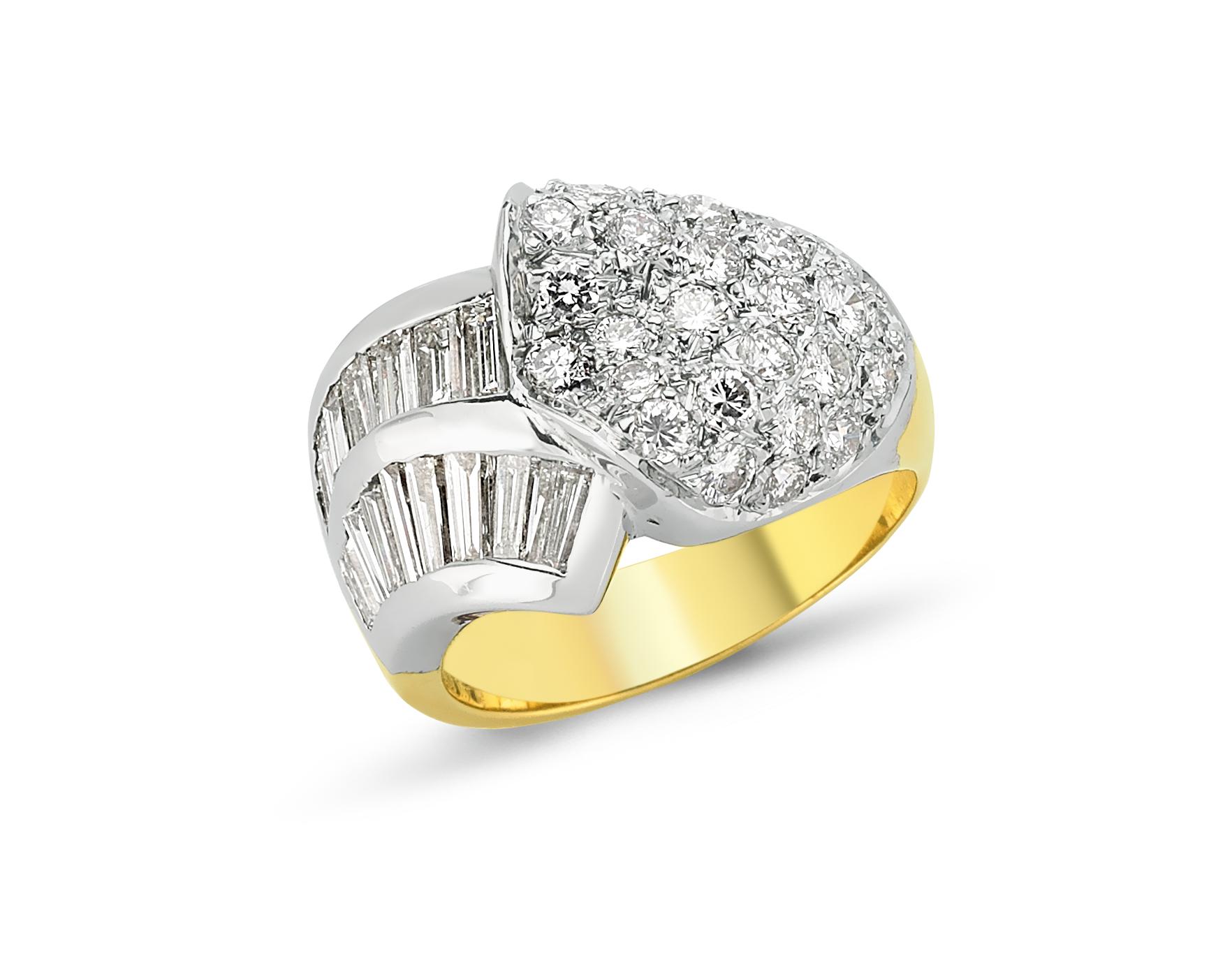 Baget Pırlanta Altın Yüzük - 6000057