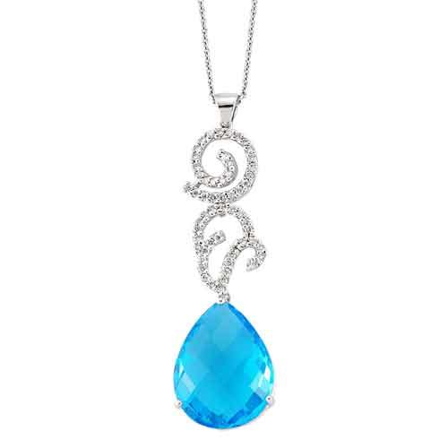 Mavi Topaz Taşlı Pırlanta Kolye - 4002777