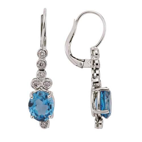Mavi Taşlı Pırlanta Küpe - 5001708