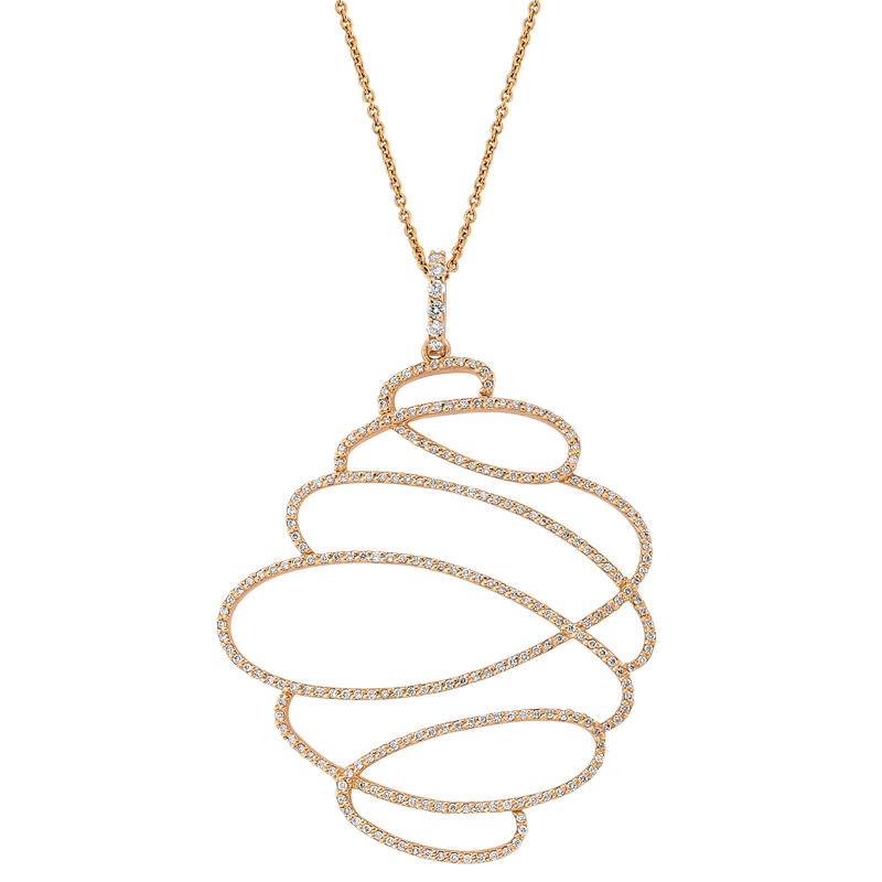 Pırlanta Pembe Altın Kolye - 4003098