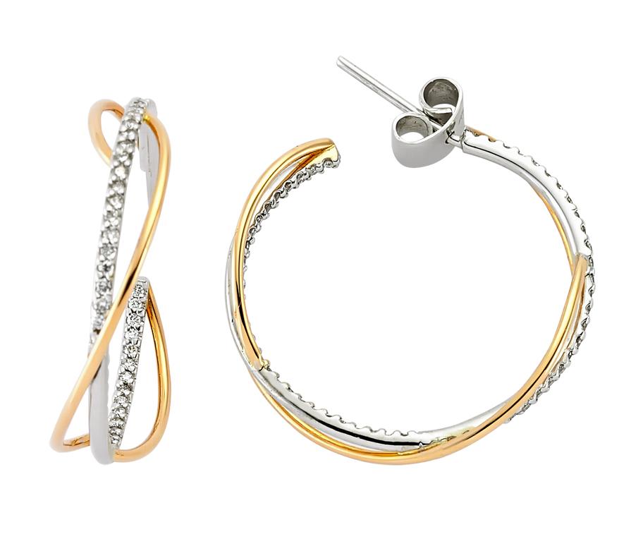 Pembe ve Beyaz Altın Pırlanta Halka Küpe - 5001778