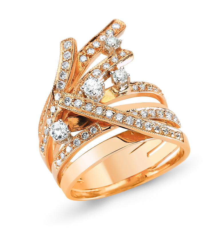Pembe Altın Pırlanta Yüzük - 6002634