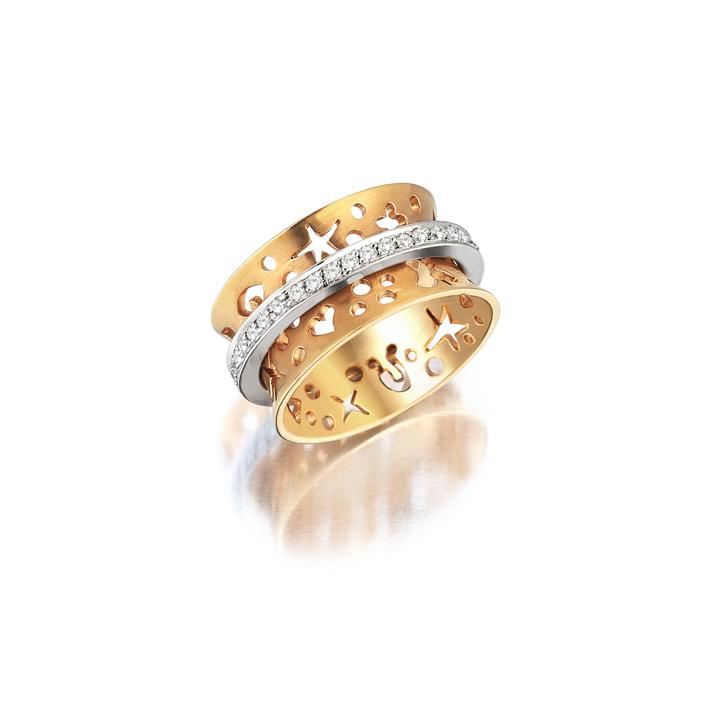 Pembe Beyaz Altın Pırlanta Tamtur Yüzük - 6002341